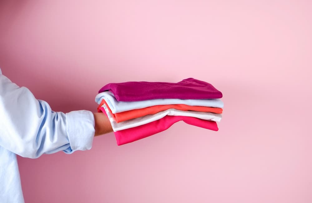 Pink folded clothes